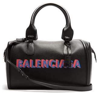 Balenciaga Monday Logo Print Leather Holdall - Mens - Black