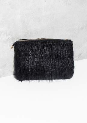 At Missy Empire Missyempire Carma Black Gy Faux Fur Clutch Bag
