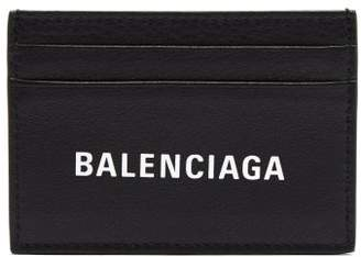 Balenciaga Everyday Logo Print Leather Cardholder - Mens - Black