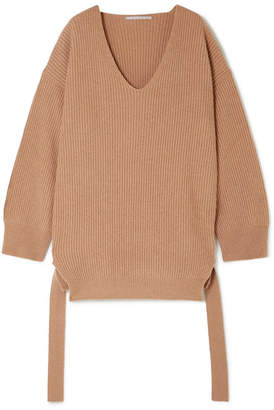 Stella McCartney Oversized Ribbed Cashmere And Wool-blend Sweater - Camel