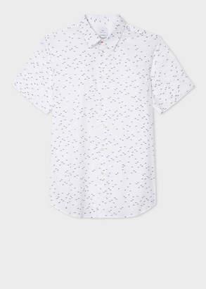 Paul Smith Men's Slim-Fit White 'Mini Sharks' Print Short-Sleeve Cotton Shirt