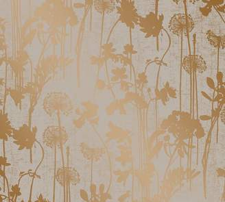 Pottery Barn Distressed Floral Gray & Metallic Copper Wallpaper Sample