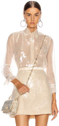 Miu Miu Sequin Long Sleeve Blouse in White | FWRD