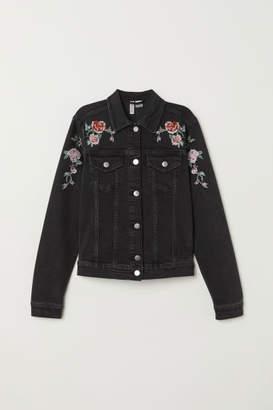 H&M Embroidered Denim Jacket - Black