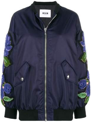 MSGM terry-flocked satin bomber jacket