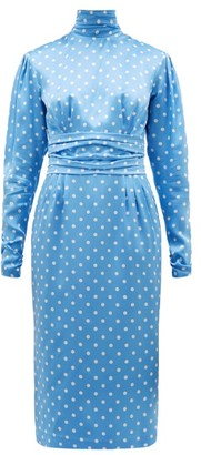 Alessandra Rich High Neck Polka Dot Print Silk Satin Dress - Womens - Blue White