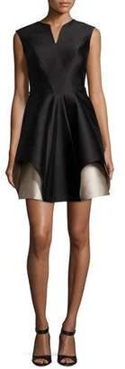Halston Cap-Sleeve Notch-Neck Colorblocked Cocktail Dress