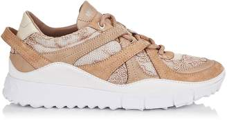 Jimmy Choo SEATTLE Pink Mix Floral Lace on Mesh and Leather Trainers
