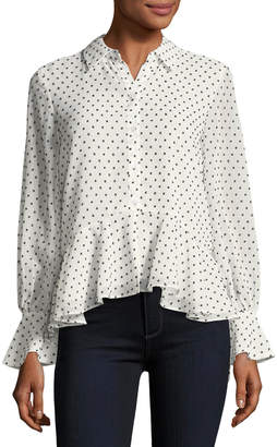 Neiman Marcus Chiffon Peplum Button-Down Top