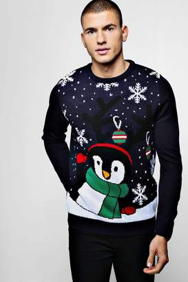 boohoo Novelty Penguin Christmas Jumper In Navy