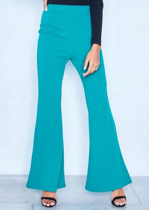 Missy Empire Missyempire Brooke Teal High Waist Flare Trousers