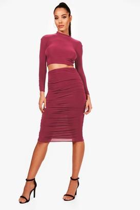 boohoo Rouched Sleeve Midi Skirt Co-Ord Set