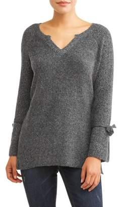 Thyme + Honey Women's V-Neck Tie Sleeve Sweater