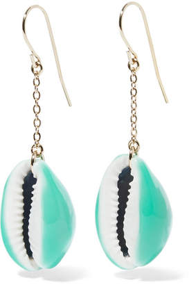 Aurelie Bidermann Gold-plated, Shell And Enamel Earrings