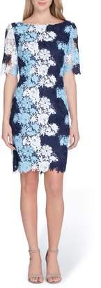 Tahari Multicolor Lace Sheath Dress