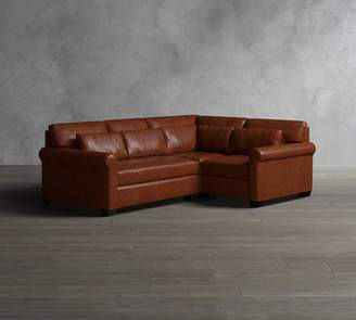 Pottery Barn York Roll Arm Deep Seat Leather 3-Piece Sectional with Corner