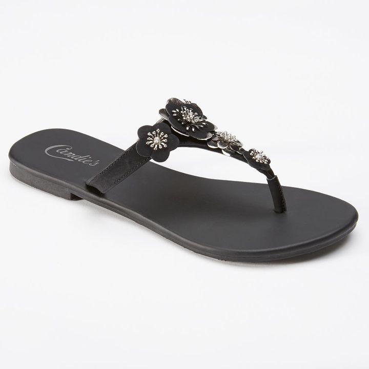 Candies Candie's ® metallic floral thong flip-flops - women