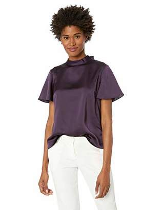 Nine West Women's Short Sleeve Mock Neck Charmeuse Blouse