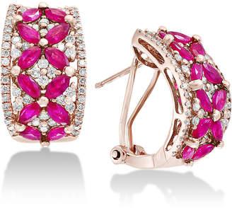 Effy Amore by EffyCertified Ruby (2-3/4 ct. t.w.) & Diamond (7/8 ct. t.w.) Curved Drop Earrings in 14k Rose Gold