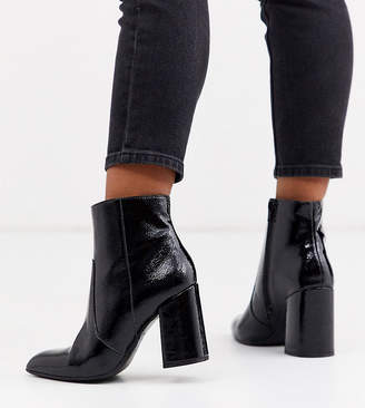New Look Wide Fit crinkle patent PU pointed heeled boots in black