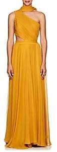 Prabal Gurung Women's Plissé Silk Chiffon Cutout Gown - Ochre