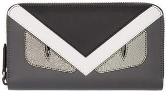 Fendi Grey and Black Bag Bugs Zip Around Wallet