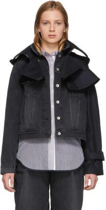 Sacai Black Denim and Twill Hybrid Jacket