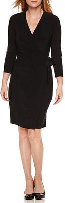 Evan Picone BLACK LABEL BY EVAN-PICONE Black Label by Evan-Picone 3/4 Sleeve Faux Wrap Dress