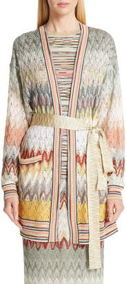 Missoni Pointelle Tie Belt Long Cardigan