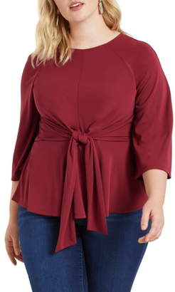 ELOQUII Flared Sleeve Tie Front Top