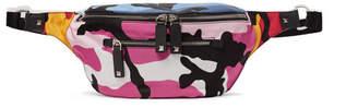 Valentino Garavani Leather-Trimmed Studded Camouflage-Print Shell Belt Bag