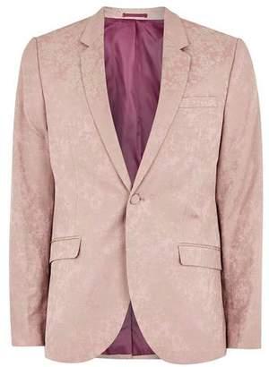 Topman Mens Pink Jacquard Skinny Suit Jacket