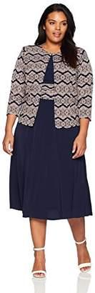 Jessica Howard Women's Plus Size Jacket Dress with Printed Waist