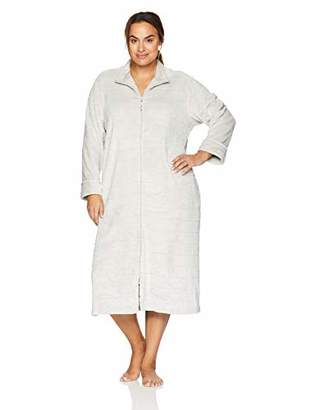 Arabella Women's Plus Size Trimmed Stripe Plush Zip Robe