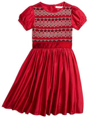 Brooks Brothers Girls Short-Sleeve Silk Smocked Dress
