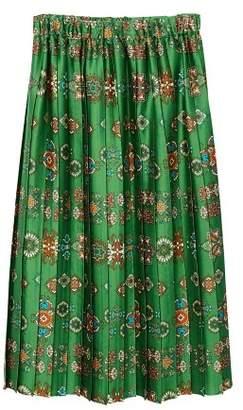 MANGO Printed pleated skirt