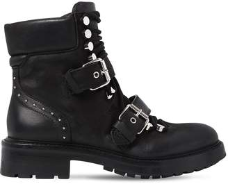 Elena Iachi 30mm Studded Leather Combat Boots