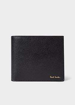 Paul Smith Men's Black Leather 'Geometric Mini' Print Interior Billfold And Coin Wallet