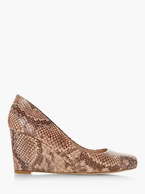 Dune Anthee Wedge Heel Court Shoes, Natural Reptile