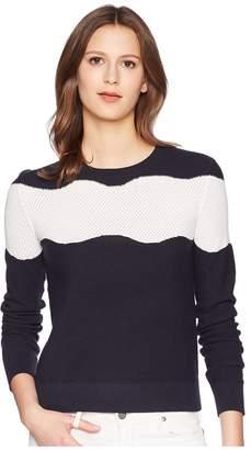 Jil Sander Navy Long Sleeve Knit with Contrasting Motif