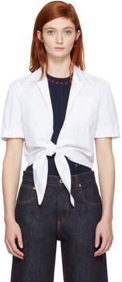Carven White Tie Front Blouse