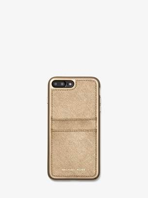 MICHAEL Michael Kors Metallic Saffiano Leather Case for iPhone 7/8 Plus