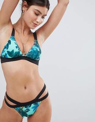 Missguided Floral Double Strap Bikini Bottoms