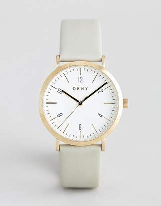 DKNY Mesh Gold Plated Watch in Silver with White Dial