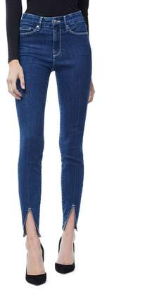 Good American Good Legs High Waist Slit Hem Skinny Jeans