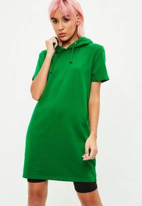 Missguided Green Short Sleeve Hooded Sweat Dress