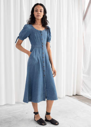 And other stories Linen Blend Denim Midi Dress