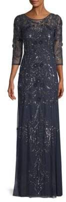 Aidan Mattox Beaded Illusion Gown