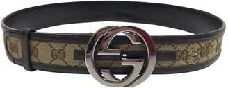 Gucci Interlocking Buckle Brown Cloth Belts