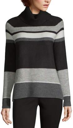 Liz Claiborne Womens Turtleneck Long Sleeve Stripe Pullover Sweater
